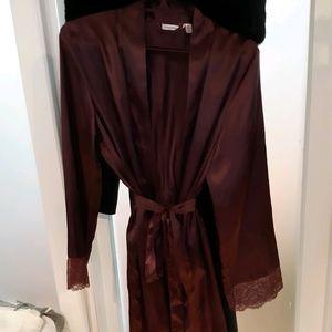 Burgundy/wine colored silk robe